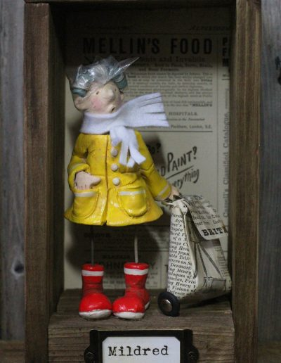 British craft piece titled Milred and the trolley by Traci Howard